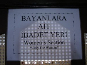sign for the women's section: Blue Mosque, Istanbul