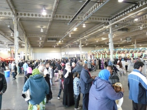 Muslims gathered in the main hall.